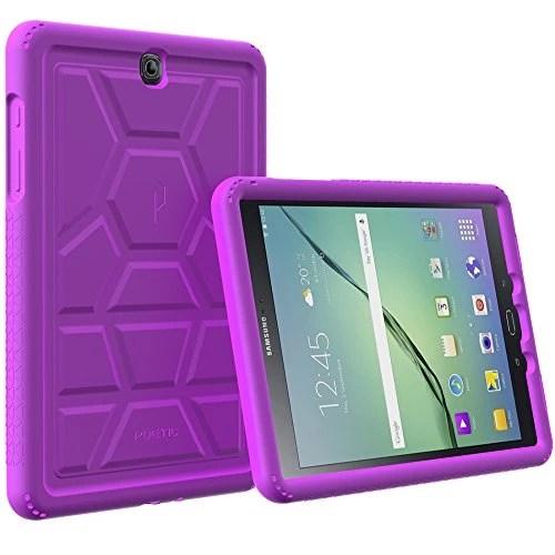 Étui Galaxy Tab S2 9.7 – Poetic [Série Turtle Skin] Étui Galaxy Tab S2 9.7 [Protection Avant/Au Coin] [Adhérence] [Amplification du Son] Étui Protecteur en Silicone pour Samsung Galaxy Tab S2 9.7 Violet (Garantie de 3 Ans du Manufacturier de Poetic)