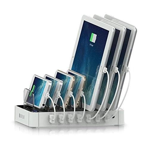 Satechi Station d'accueil de recharge USB 7-Port pour iPhone 6 Plus/6/5S/5C / 5 /4S, iPad Air/Mini/3/2/1, Samsung Galaxy S6 Edge/S6/S5/S4/S3/Note/Note 2/Tab, iPod, Nexus, HTC et plus (7-Port Blanc)