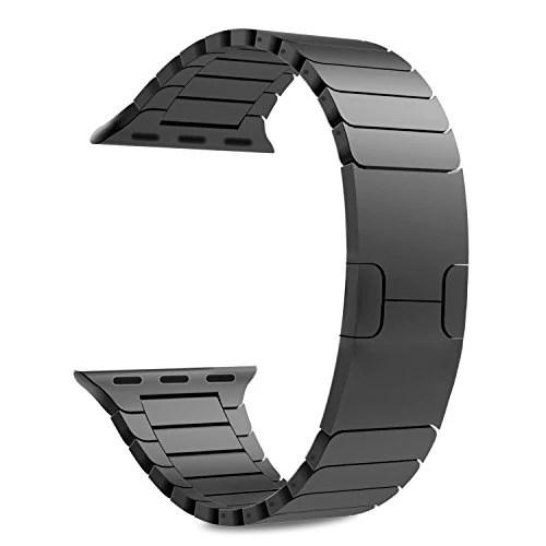 Apple Watch Band, MoKo en acier inoxydable un Replacement de bracelet à maillons avec Fermoir déployante pour iWatch 42mm(Compatible avec 2016 Nouvel Watch Series 2), NOIR