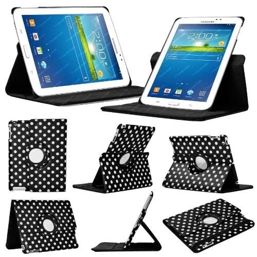 Stuff4 MR-GT37.0-L360-PD-BKW-STY-SP Housse avec rotation à 360° pour Samsung Galaxy Tab 3 7″ (T210 / T211 / P3200 / P3210) Film de protection et Stylet inclus Noir Polka Dot