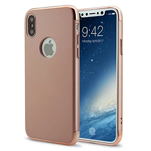 iPhone X Coque Étui Hybrid en Polycarbonate 3 en 1 Ultra Mince Antichoc ÉTUI HOUSSE Protecteur(iphoneX 5.8,or rose)