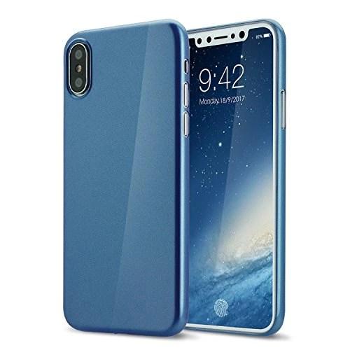 Coque iphone X cover 0.3mm Ultra Slim Fin Ultra Mince et Ultra Léger Semi Rigide Bumper en Gel Silicone Housse de Protection Coque Pour iphoneX brillante bleu