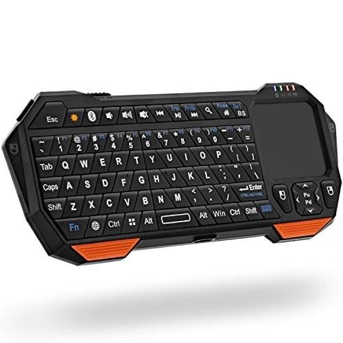 Fosmon Mini Clavier Sans fil Bluetooth, Portable Wireless Keyboard (QWERTY) avec télécommande et souris à pavé tactile pour iPhone, Galaxy, Android Smartphones, Tablette, Laptop, Notebook Ordinateur