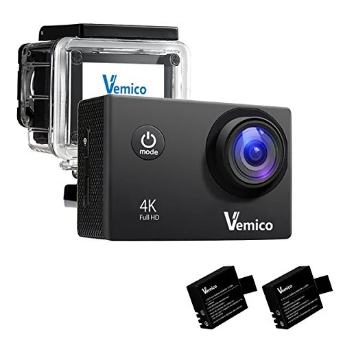 Vemico Caméra Sports 4K Caméra Sport Full HD 16MP Wifi Etanche 40M Action Caméra Embarquée Grand Angle 170°Kit d'accessoires + 2 Batteries (Noir)