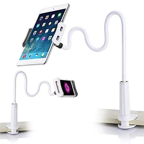 GadgetKing Col de cygne Bras 360 Lit Bureau Paresseux Supporter Titulaire Monter Pour ipad Tablette Allumer 2 3 4 Téléphone portable Mont / iPad Titulaire Pour Huawei P20 / P20 Lite / iPhone 8 X 7 7s 7 Plus / Galaxy S9 / iPad Pro 9.7 / Onglet A 10.1 / Tab E 9.6 Comprimés Monter pour 4-10.1 Pouce Dispositif, 100 Centimètre Longue 360 Rotation – Blanc gris
