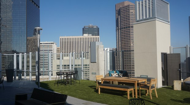 The rooftop deck of the 25-story apartment tower at 18th Avenue and Broadway. (Burl Rolett)