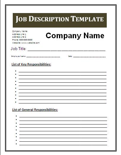 Job description blank templates video search engine at for Creating a job description template