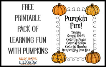 Free Printable Pack Of Learning Fun With Pumpkins