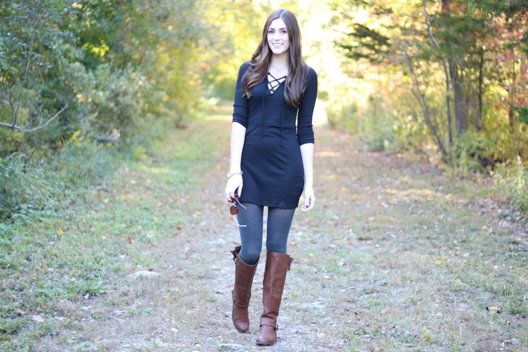 Fall Style Ribbed Lace Up Dress | A Walk in The Woods | But First, Coffee blog