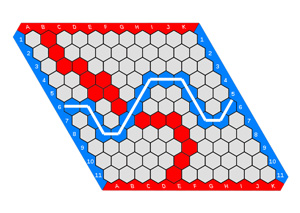 A game of Hex. Blue wins; the winning path is highlighted in white.