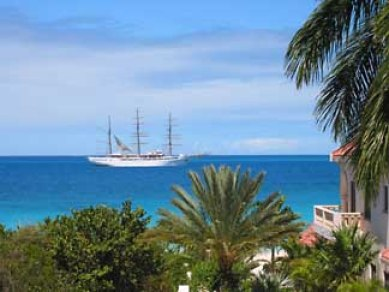 Modern square rigger viewed from Long Bay, St. Maarten