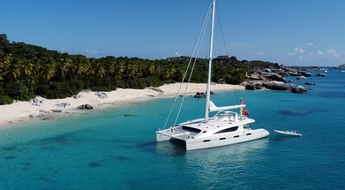 "Catamaran ""Zingara"" anchored off The Baths in Virgin Gorda, BVI"