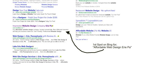 1st Spot Bing Search
