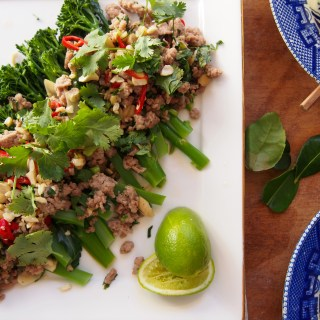 Thai-Style Sticky Pork Mince with Broccolini, recipe at www.therosedogblog.me
