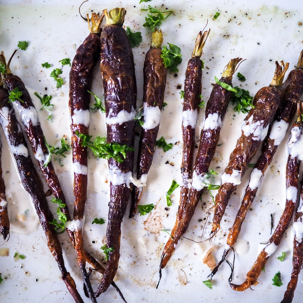 Roasted Christmas Carrots with Garlic Tahini Dressing, Recipes By Rosie over on www.by-rosie.com