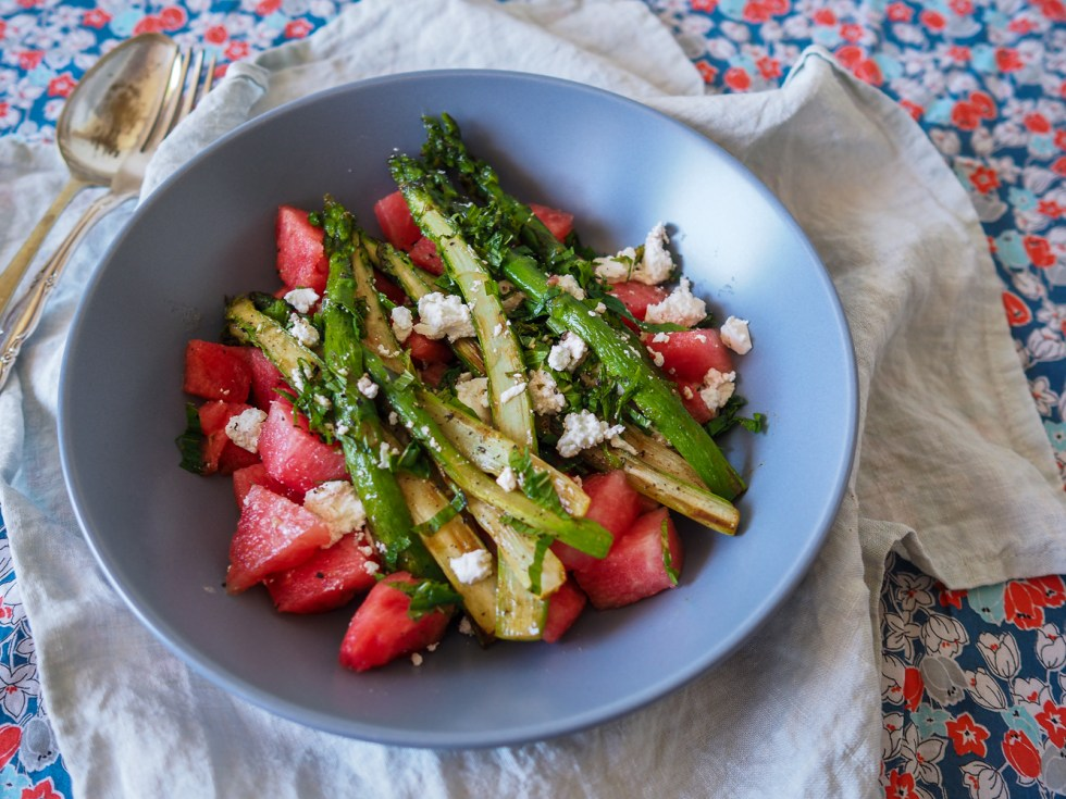 Summery Salad, Watermelon Mint and Feta with Asparagus, Recipes By Rosie, www.by-rosie.com