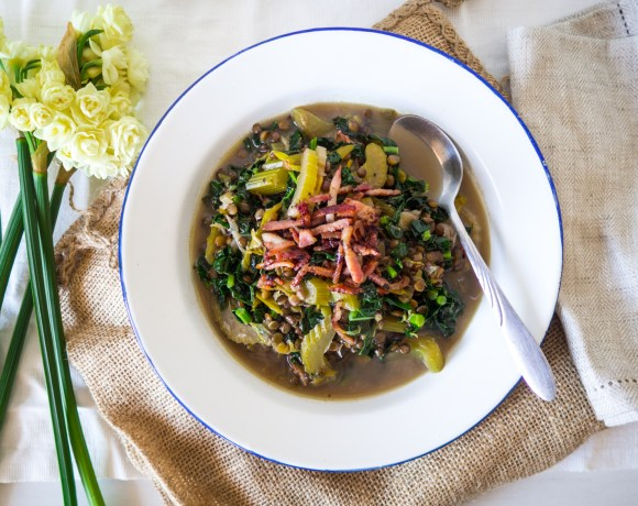Chunky Leek, Lentil & Bacon Broth