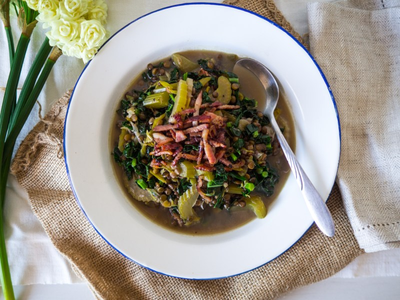 Chunky Leek, Lentil and Bacon Broth, Simple Soups, Recipes By Rosie, www.by-rosie.com