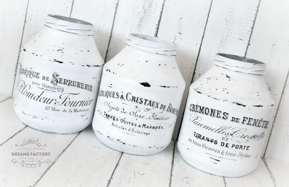 Shabby French Painted Jars