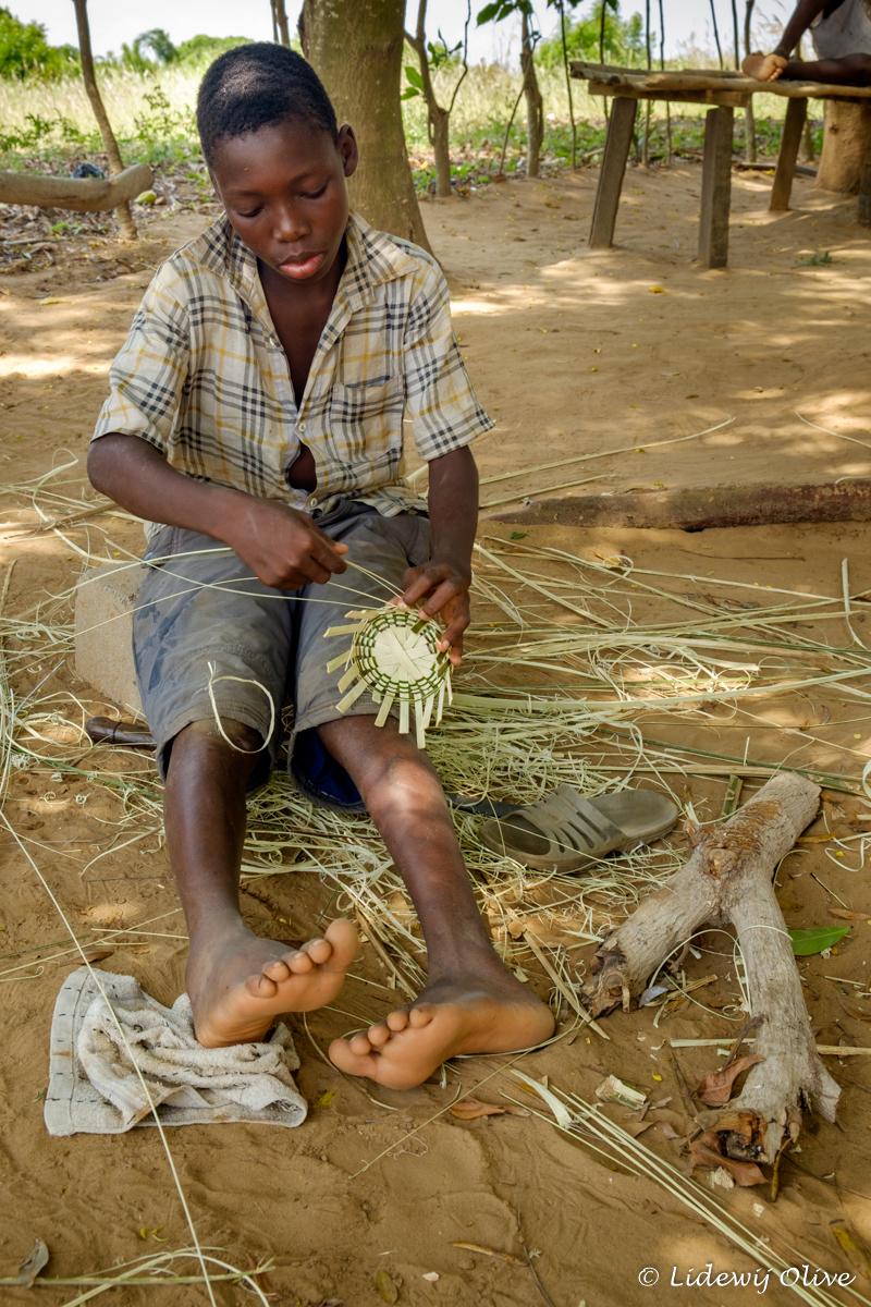 concentrating on basket weaving