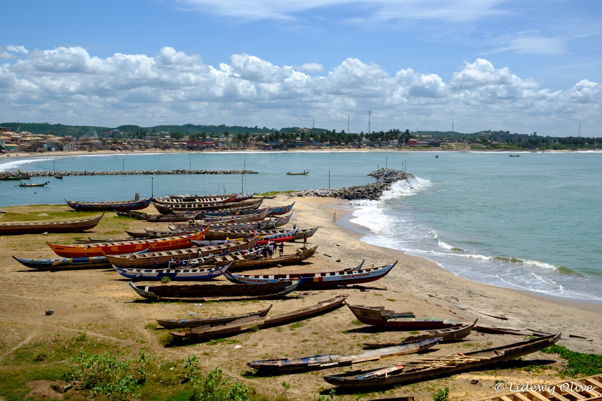 fishing boats in elmina, Ghana from the castle