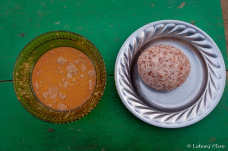 Rice balls with groundnut soup