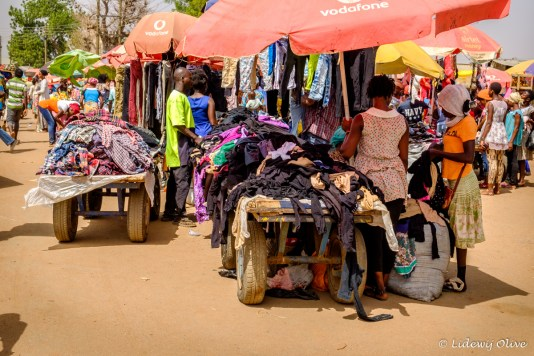 Selling clothes at the market