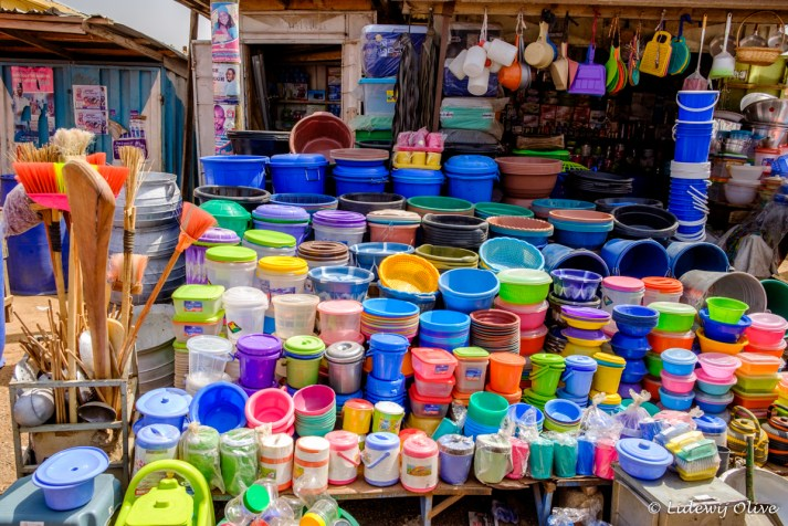 Colourfull buckets at the market