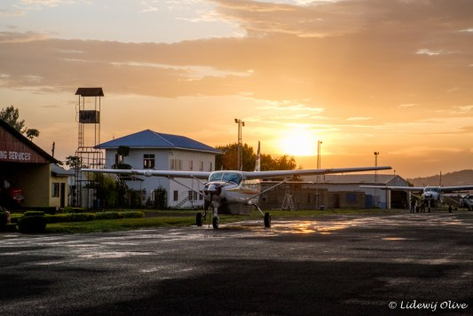 Cessna plane at sunset