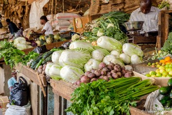 The market in Arusha: selling vegetables