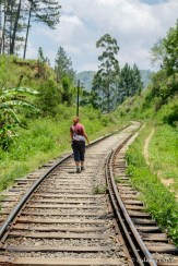 Lidewij walking on the railway track