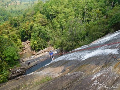 Abseiling the waterfall