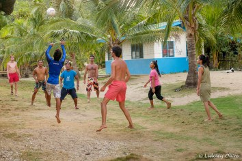 Playing volleybal with the locals