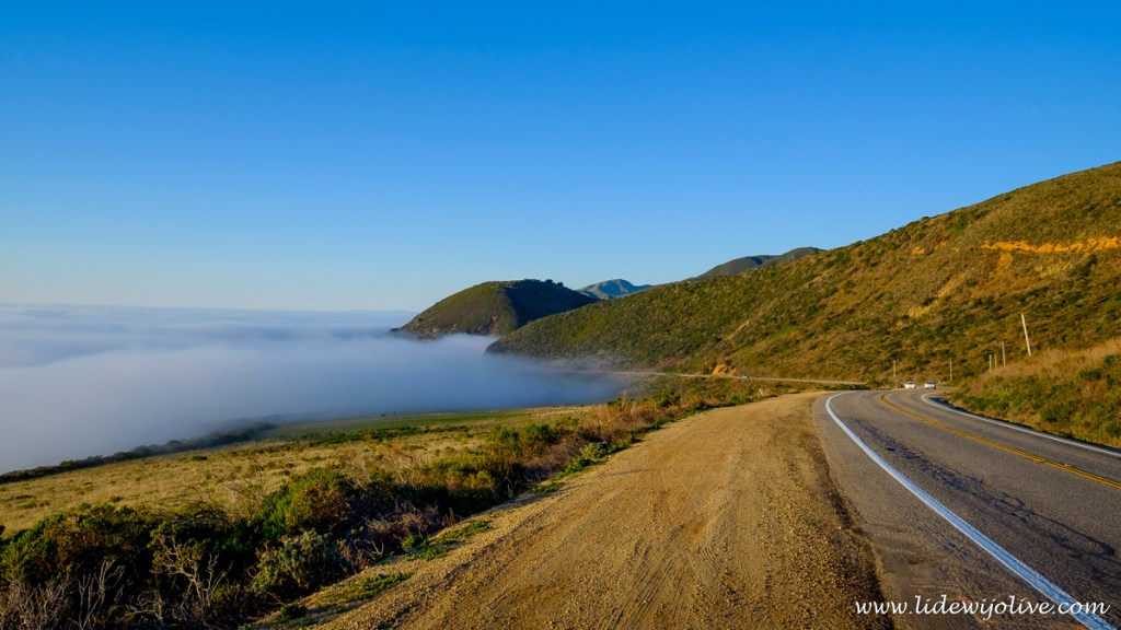 The road next to the fog
