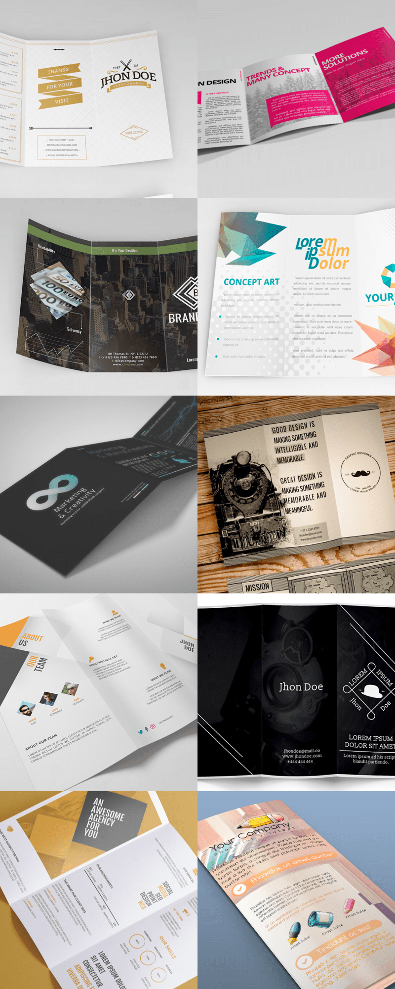 25 Editable Illustrator Tri fold Brochure Templates   Bypeople     to create tri folds  It has editable shapes  changeable texts  and  different styles created to match current design trends  The elements  included can be