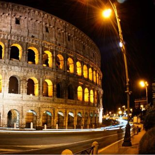 Light trails at the Colosseum.