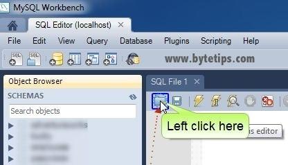 open sql file in workbench
