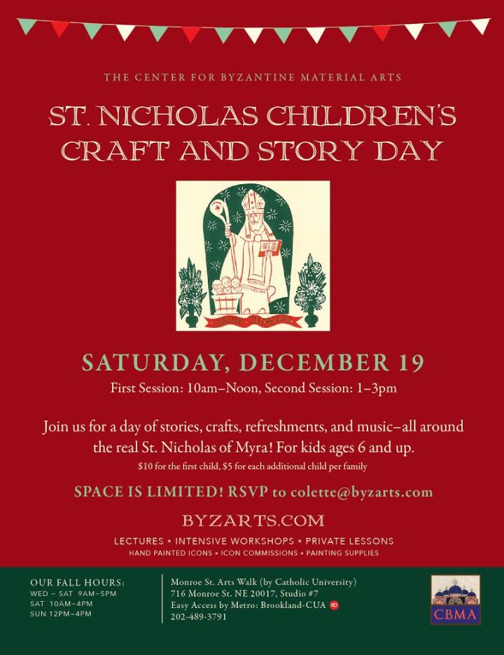St. Nicholas Children's Craft & Story Day: Washington, DC @ Walk-Center for Byzantine Material Arts  | Washington | District of Columbia | United States