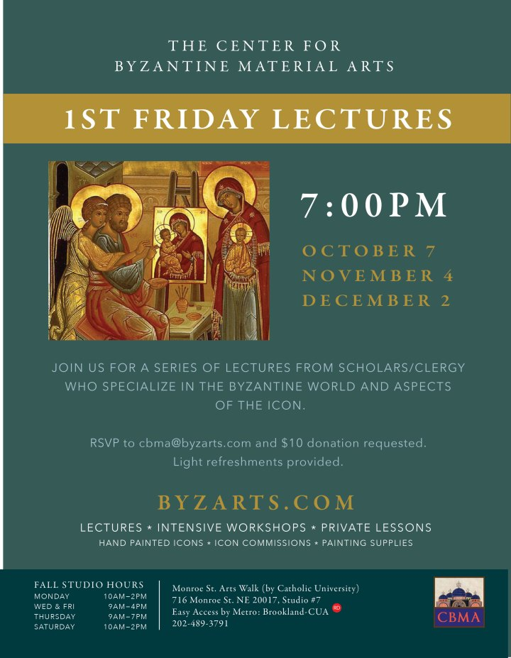 First Friday Lecture Series for November: Washington, DC @ Center for Byzantine Material Arts, Inc.  | Washington | District of Columbia | United States