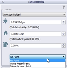 SolidWorks Sustainability Paint Options