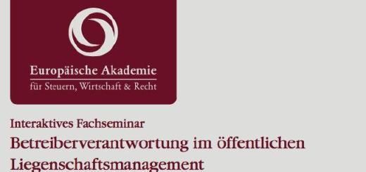 Um Betreiberverantwortung bei kommunalen Liegenschaften geht es bei einem zweitägigen Fachseminar im September in Berlin