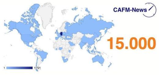 Weiter aufwärts: Die CAFM-News verzeichnen jetzt über 15.000 Seitenaufrufe im Monat