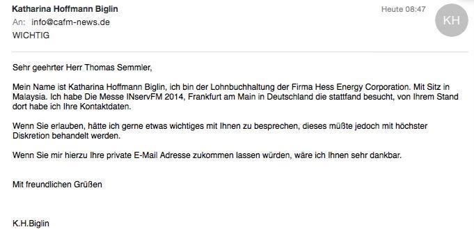 Diese Spam-Mail erreichte die CAFM-News - vermutlich nicht allein.