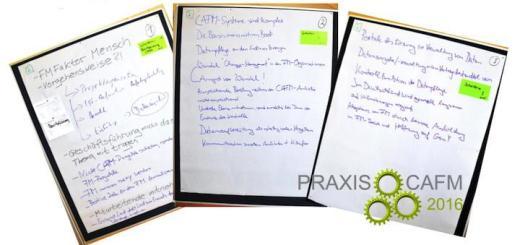 Praxiswissen, handschriftliche zusammen getragen: Warum CAFM-Projekte scheitern, diskutierte eine Open Session bei den Praxistagen CAFM von GEO12