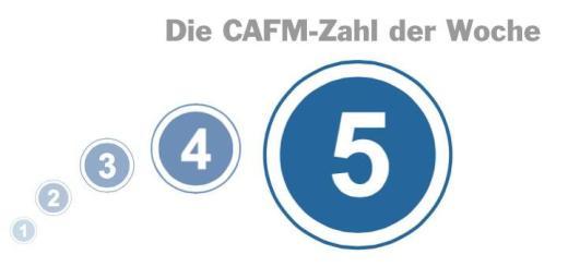 Die CAFM-Zahl der Woche ist die 5 – für die fünf guten Gründe, die Messeveranstalter Mesago für den Besuch der INservFM 2017 sieht