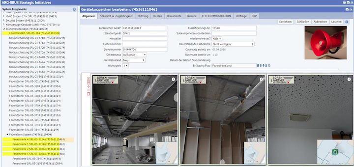 Die NavVis-Integration  in Archibus CAFM-Software zeigt verschiedene Baustadien mit Foto und Kartenausschnitt.
