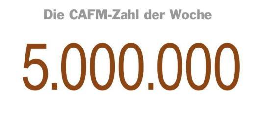 Die CAFM-Zahl der Woche ist die 5.000.000 – die Höhe der Brutto-Bausumme, ab der laut Erlass vom Januar 2017 bei Hochbauvorhaben des Bundes über BIM nachgedacht werden sollte