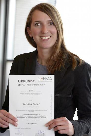 Corinna Keller hat den GEFMA Förderpreis 2017 gewonnen. Das Thema ihrer Arbeit: Facility Management 4.0