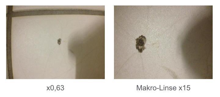 Die Makro-Linse mit 15-facher Vergrößerung liefert ein gutes und verzeichnungsfreies Bild der Sachlage