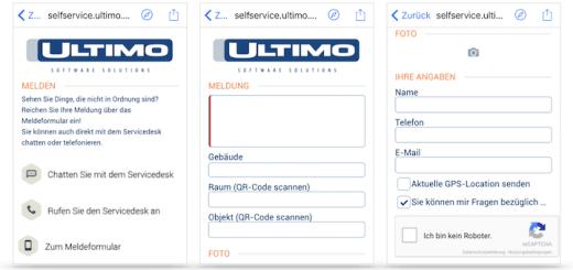 Mit der Funktion Mobiles melden ermöglicht Ultimo praktisch jedem, eine Schadenmeldung in das CAFM-System zu übergeben